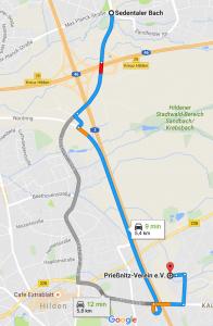 Wegbeschreibung Prießnitz Hilden